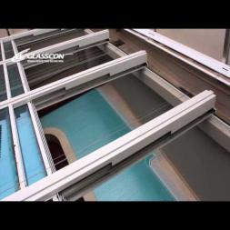 glasscon RETRACTABLE TELESCOPIC POOL ENCLOSURE WITH SAFETY GLASS & EXTERNAL MOTORIZED BLINDS