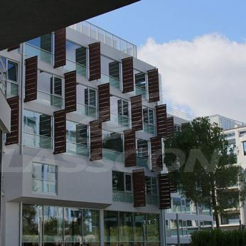 Innovative brise soleil with motorized operation for Grivalia Green Plaza