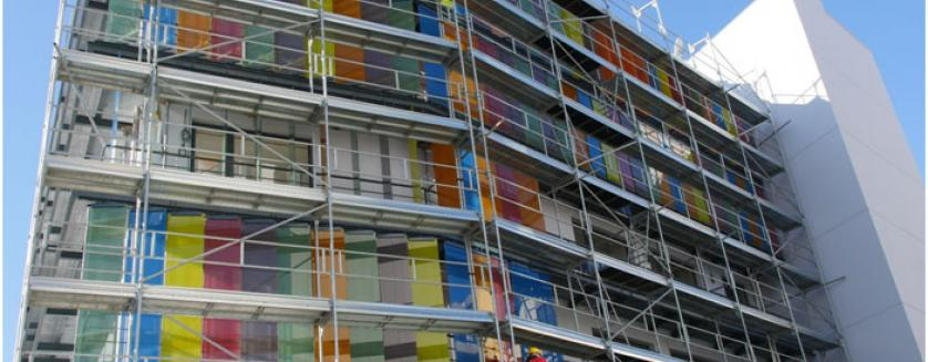 GLASSCON working on a high end building envelope with motorized solar louvers
